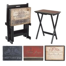 Tuscan Wine Labels TV Tray with Stand (Set of 4)
