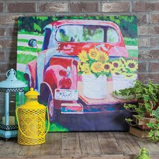 Red Truck Outdoor by Laurie Richardson Painting Prints on Canvas