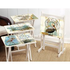Shore Birds TV Tray with Stand (Set of 4)