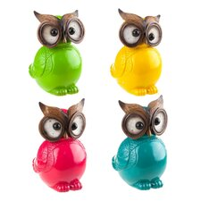 4 Piece Cabin Fever Ceramic Owl Table Decor Figurine Set
