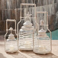3 Piece Lighting and Wall Décor Glass Lantern Set