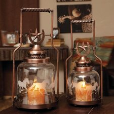 2 Piece Glass and Metal Horse Shoe and Galloping Horse Lantern Set