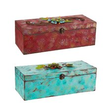 Westward Bound Wine Box with Metal Flowers (Set of 2)