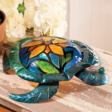 """Embossed and Hand Painted Glass and Metal Turtle with Flower 15.2"""" H Table Lamp"""