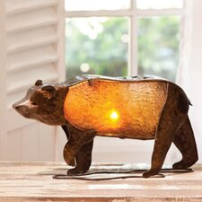 "Embossed and Hand Painted Glass and Metal Bear 8"" H Table Lamp"