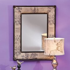 Linen Butterfly and Floral Wall Mirror