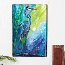 'Blue Heron' Indoor by Jennifer Callahan Painting Print on Canvas