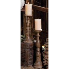 2 Piece Nature's Charm Wood Carved Mango Candlestick Set