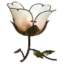 "Embossed and Hand Painted Glass and Metal Flower 12.4"" H Table Lamp"