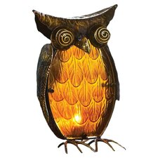 "Cabin Fever Glass and Metal Owl 13.3"" H Table Lamp"
