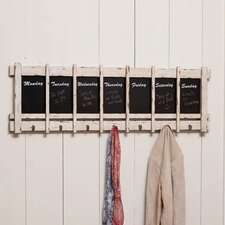 Days of the Week Wood Chalk Board with 7 Hooks