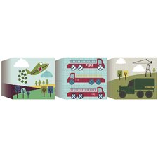 3 Piece Transportation Blocks Canvas Art