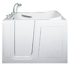 "Short 48"" x 28"" Long Hydrotherapy Massage Walk-In Bathtub; Right"