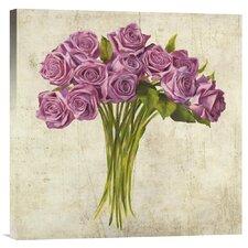 'Bouquet de Roses' by Leonardo Sanna Painting Print on Canvas