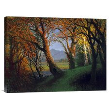 'Sunset in the Nebraska Territory' by Albert Bierstadt Painting Print on Canvas