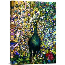 'Fine Peacock' by Tiffany Studios Painting Print on Canvas