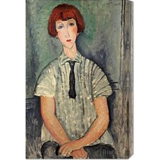 <strong>Bentley Global Arts</strong> 'Young Girl In a Striped Shirt' by Amedeo Modigliani Stretched Canvas Art