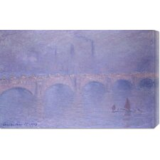 'Waterloo Bridge, Misty Sunshine' by Claude Monet Stretched Canvas Art