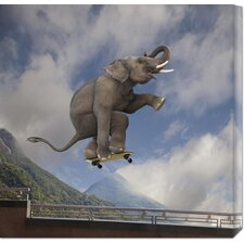 <strong>Bentley Global Arts</strong> 'Elephant Skateboarding' by Lund-Roeser Stretched Canvas Art