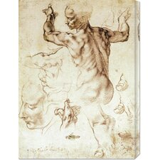 'Anatomy Sketches (Libyan Sibyl)' by Michelangelo Painting Print on Canvas