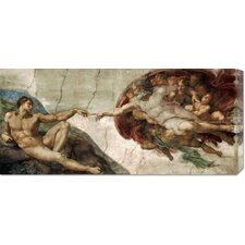 'Creation of Adam (Detail)' by Michelangelo Painting Print on Canvas