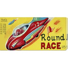 <strong>Bentley Global Arts</strong> 'Round Race Rocket Car' by Retrotrans Stretched Canvas Art