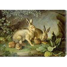 <strong>Bentley Global Arts</strong> 'Hares and Leverets In a Rocky Lair' by Johann Wenzel Peter Stretched Canvas Art