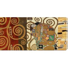 'The Embrace Gold' by Klimt Painting Print on Canvas