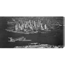 Unknown 'Airplane Flying Towards Manhattan' Stretched Canvas Art