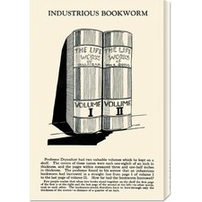 'Industrious Bookworm' by Retromagic Stretched Canvas Art
