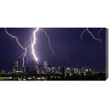 'Lightning over a City' by Sakuno Photographic Print on Canvas