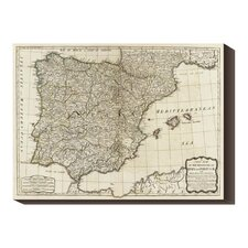 'A new map of the Kingdoms of Spain and Portugal, 1790' by Thomas Kitchin Graphic Art on Canvas