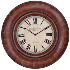 Noelle Round Clock in Distressed Auburn