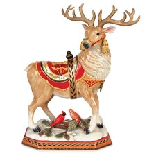 Damask Holiday Deer Figurine