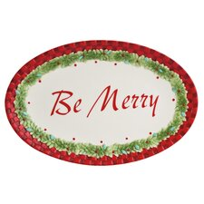 Santa's Big Day Sentiment Oval Serving Tray