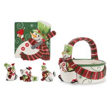 6 Piece Holly Hat Snowman Serving Set