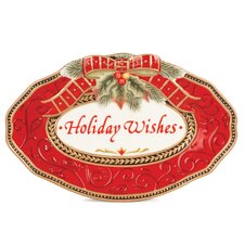 Damask Holiday Sentiment Oval Serving Tray