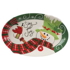 Holly Hat Snowman Sentiment Oval Serving Tray