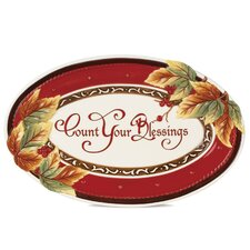 Bountiful Holiday Sentiment Oval Serving Tray