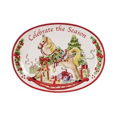 Celebrate The Season Sentiment Oval Serving Tray