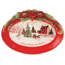 Home Warms The Heart Sentiment Oval Serving Tray