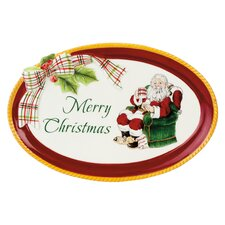 Merry Christmas Sentiment Oval Serving Tray