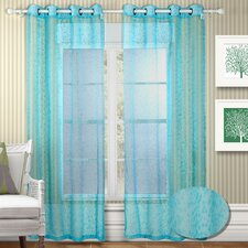 Twinkle Semi Organza Grommet Curtain Panel (Set of 2)