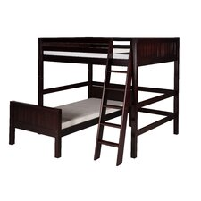 Full Over Twin L-Shape Loft Bed with Panel Headboard