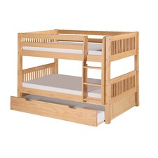 Low Bunk Bed with Trundle and Mission Headboard