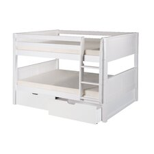 Full over Full Low Bunk Bed with Drawers and Panel Headboard