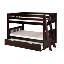 Low Bunk Bed with Lateral Angle Ladder and Trundle