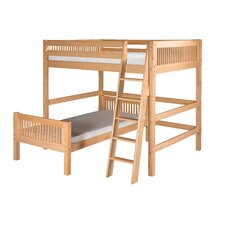 Full Over Twin L-Shape Loft Bed with Mission Headboard