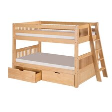 Low Bunk Bed with Lateral Angle Ladder and Drawers