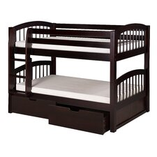 Low Bunk Bed with Drawers and Arch Spindle Headboard